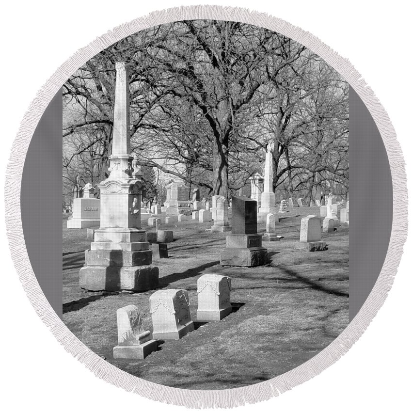 Cemetery Round Beach Towel featuring the photograph Cemetery 3 by Anita Burgermeister