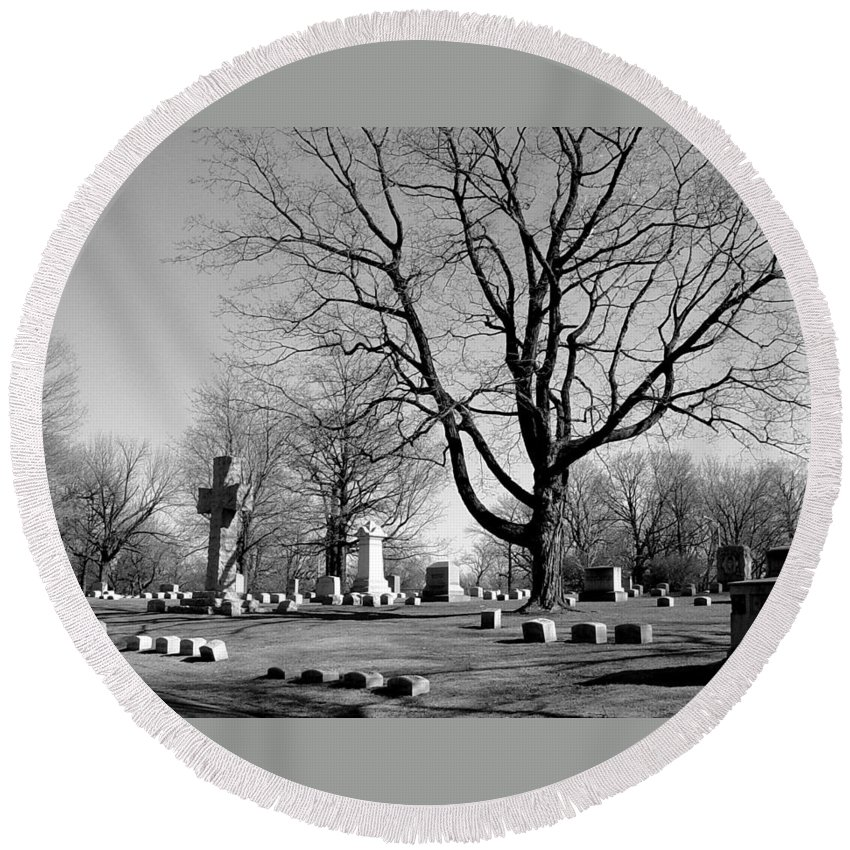 Cemetery Round Beach Towel featuring the photograph Cemetery 5 by Anita Burgermeister