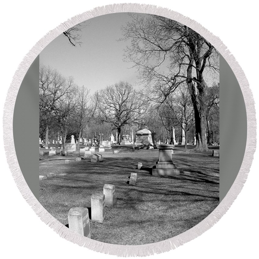 Cemetery Round Beach Towel featuring the photograph Cemetery 7 by Anita Burgermeister