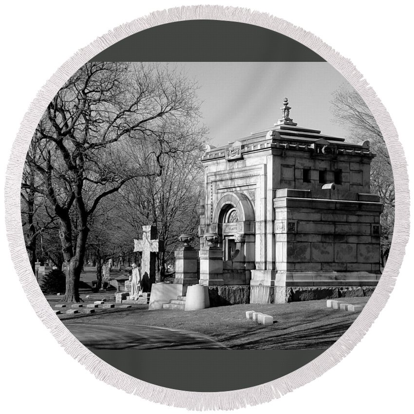 Cemetery Round Beach Towel featuring the photograph Cemetery 8 by Anita Burgermeister