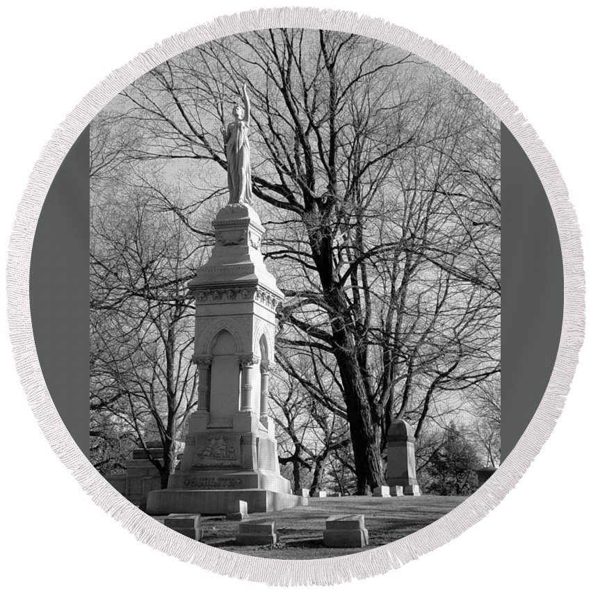Cemetery Round Beach Towel featuring the photograph Cemetery 9 by Anita Burgermeister