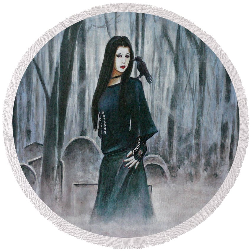Cemetery Chic Gothic Raven Crow Tombstones Light Trees Goth Woman Round Beach Towel featuring the painting Cemetery Chic by Andy Lloyd