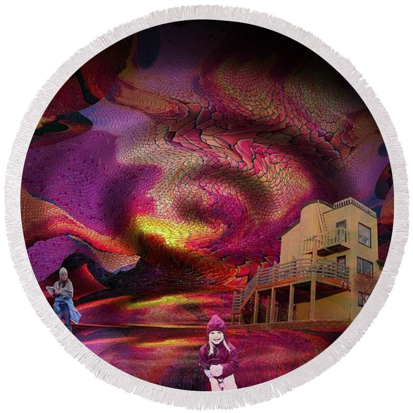 Center Round Beach Towel featuring the digital art Center Of It All by Ron Bissett