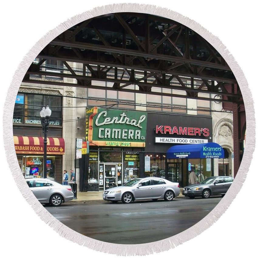 Chicago Round Beach Towel featuring the photograph Central Camera On Wabash Ave by Anita Burgermeister