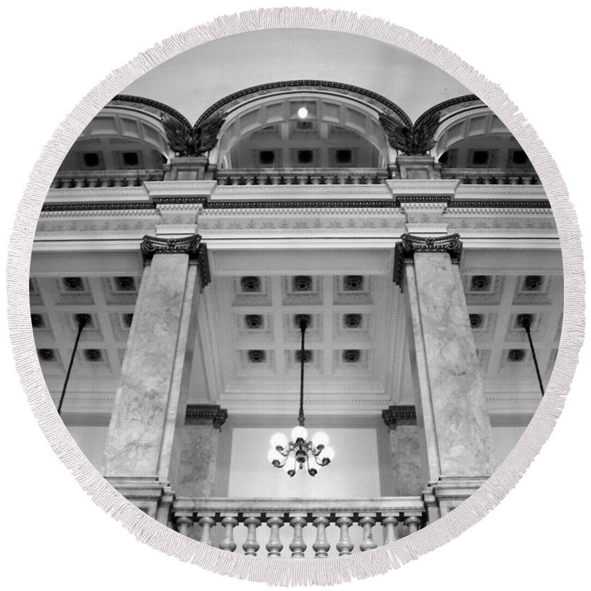 Central Library Round Beach Towel featuring the photograph Central Library Milwaukee Interior Bw by Anita Burgermeister