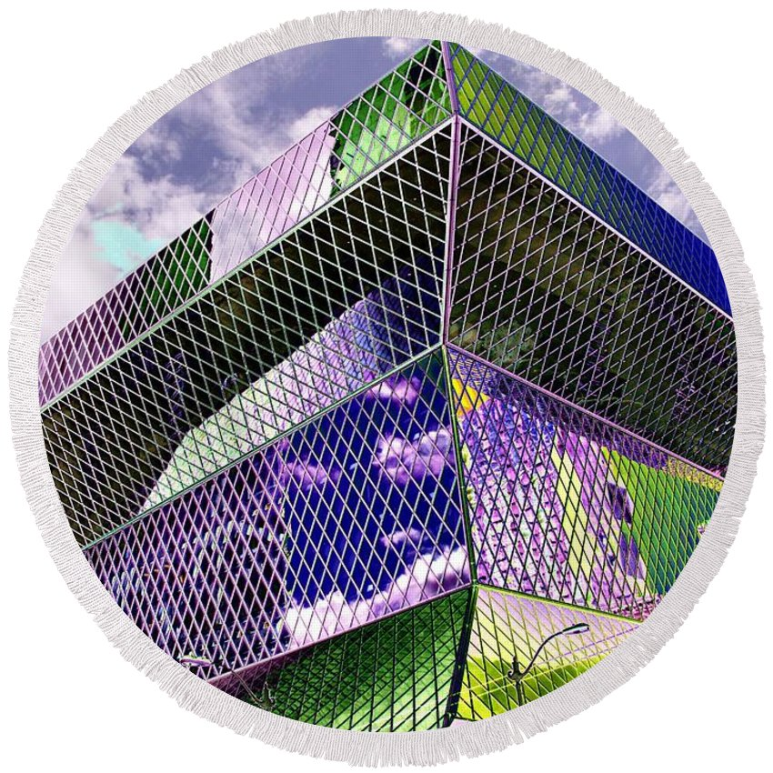 Seattle Round Beach Towel featuring the digital art Central Library Seattle by Tim Allen