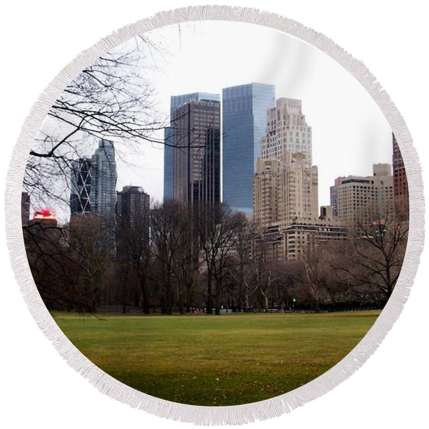 Central Park Round Beach Towel featuring the photograph Central Park by Anita Burgermeister