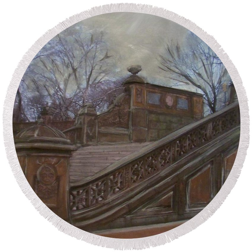 Central Park Round Beach Towel featuring the painting Central Park Bethesda Staircase by Anita Burgermeister