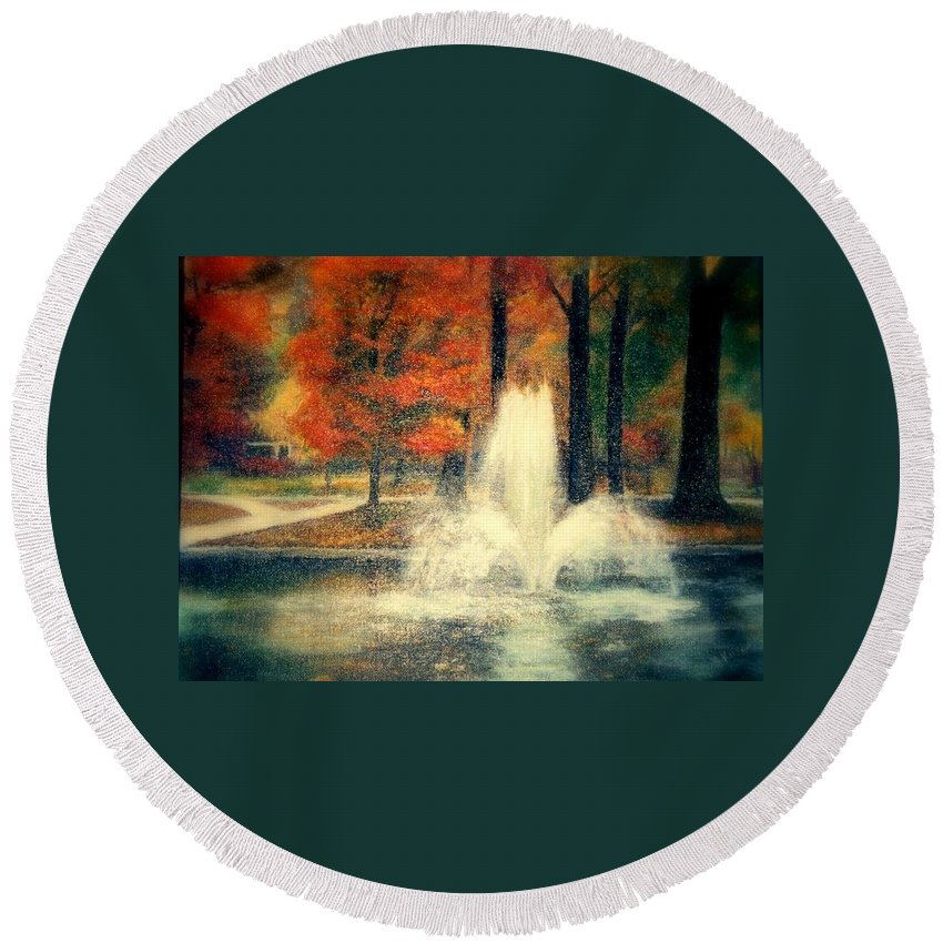 Pond Round Beach Towel featuring the painting Central Park In Autumn by Gail Kirtz
