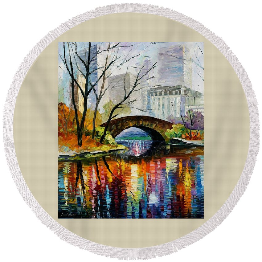 Landscape Round Beach Towel featuring the painting Central Park by Leonid Afremov