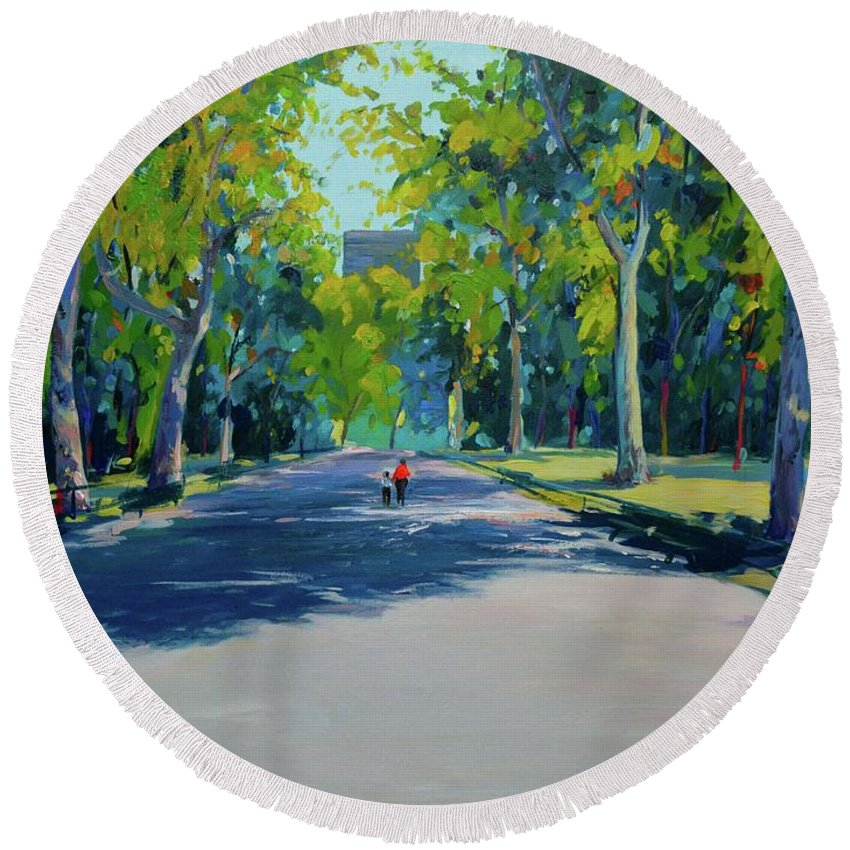 Spring In Mall Street Central Park Round Beach Towel featuring the painting Central Park,nyc by Eduard Zenuni