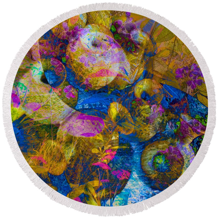 Colourful Pots Round Beach Towel featuring the photograph Ceramic Tapestry by Anthony Robinson
