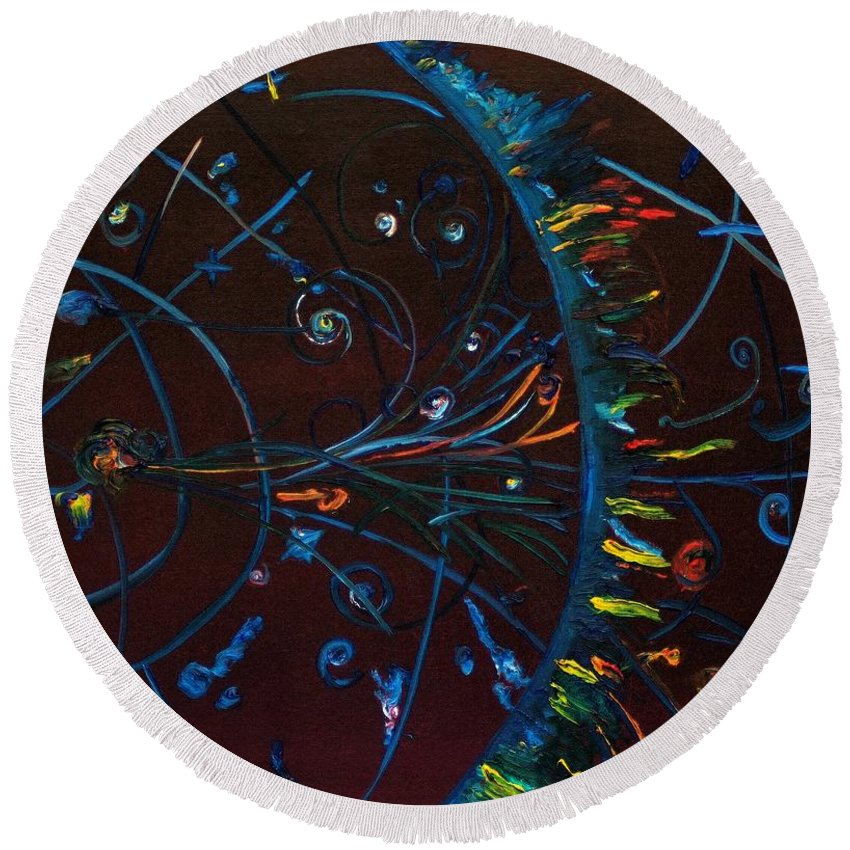 Cern Round Beach Towel featuring the painting Cern Atomic Collision Physics And Colliding Particles by Gregory Allen Page