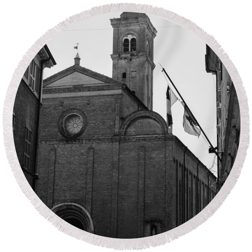Cesena Round Beach Towel featuring the photograph Cesena - Italy - The Cathedral 3 by Andrea Mazzocchetti