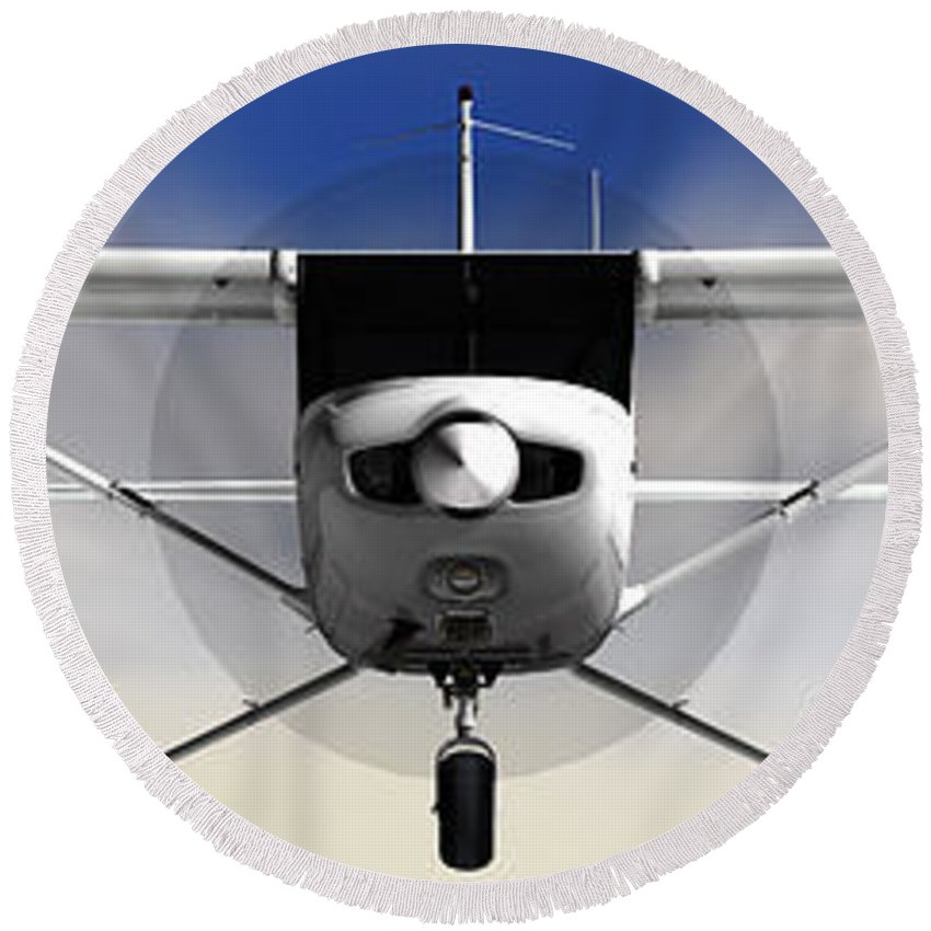 Cessna Round Beach Towel featuring the photograph Cessna 152 Flying High by Jan Brons