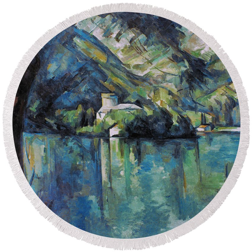 1896 Round Beach Towel featuring the photograph Cezanne: Annecy Lake, 1896 by Granger