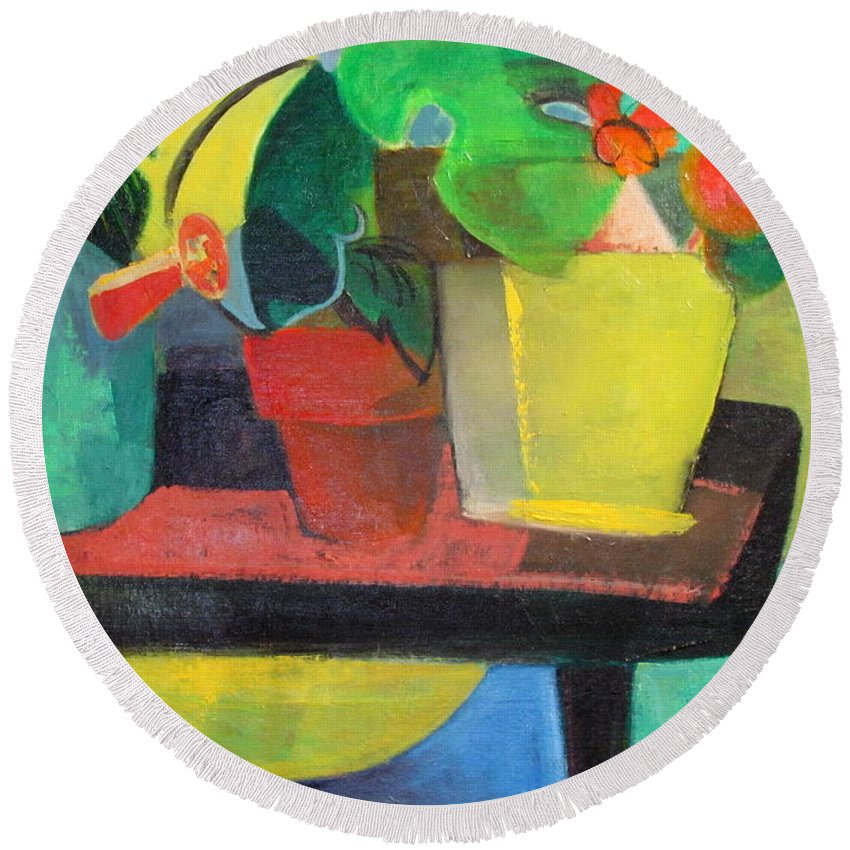 Potting Stand Round Beach Towel featuring the painting Cezanne Potting Stand by Betty Pieper