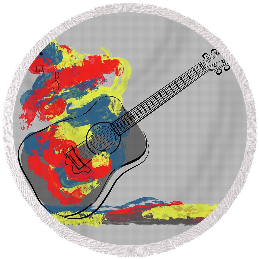 Music Round Beach Towel featuring the digital art Cfm13252 by Celito Medeiros