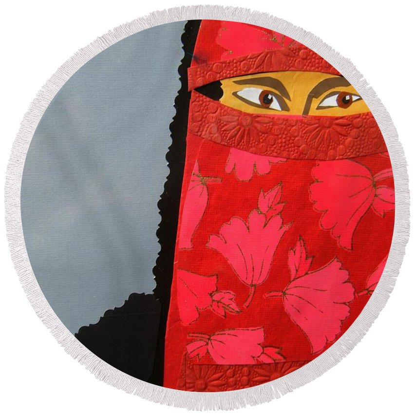 Woman Round Beach Towel featuring the mixed media Chador by Debra Bretton Robinson