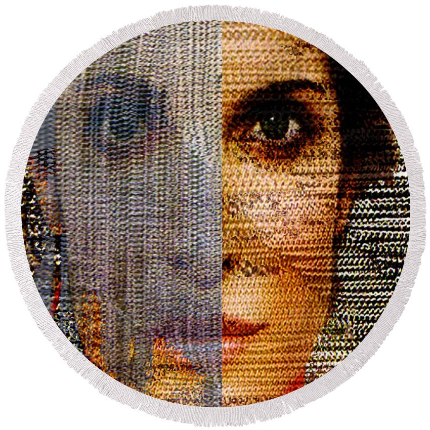 Mysterious Round Beach Towel featuring the digital art Chained Vixen by Seth Weaver