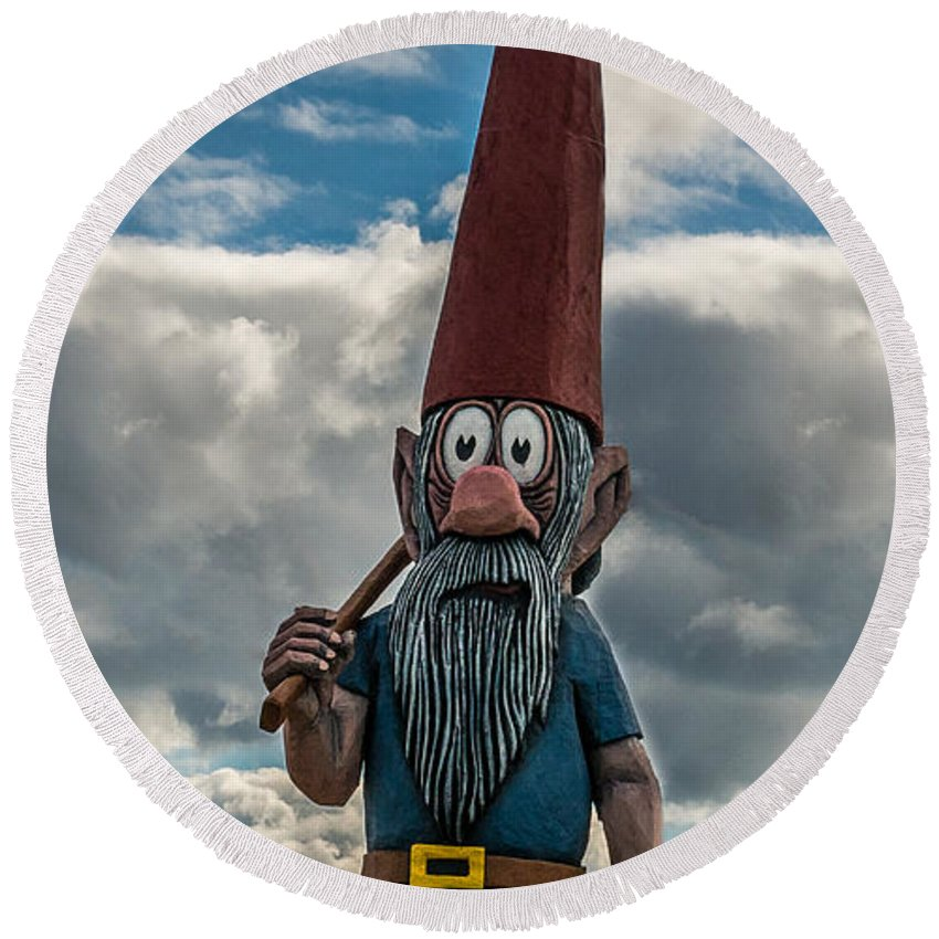 Gnome Round Beach Towel featuring the photograph Chainsaw Art Gnome by Paul Freidlund