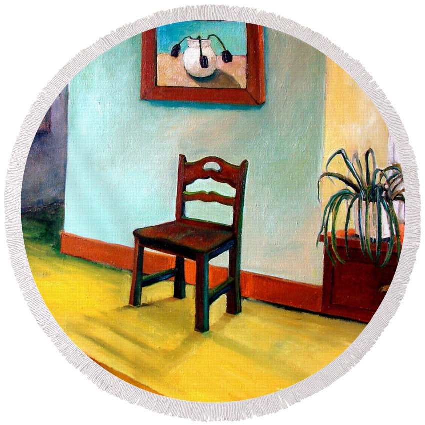 Apartment Round Beach Towel featuring the painting Chair And Pears Interior by Michelle Calkins