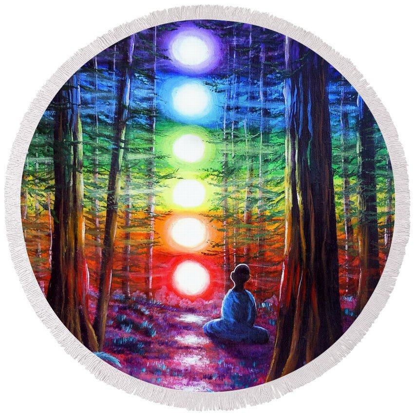 Zen Round Beach Towel featuring the painting Chakra Meditation In The Redwoods by Laura Iverson