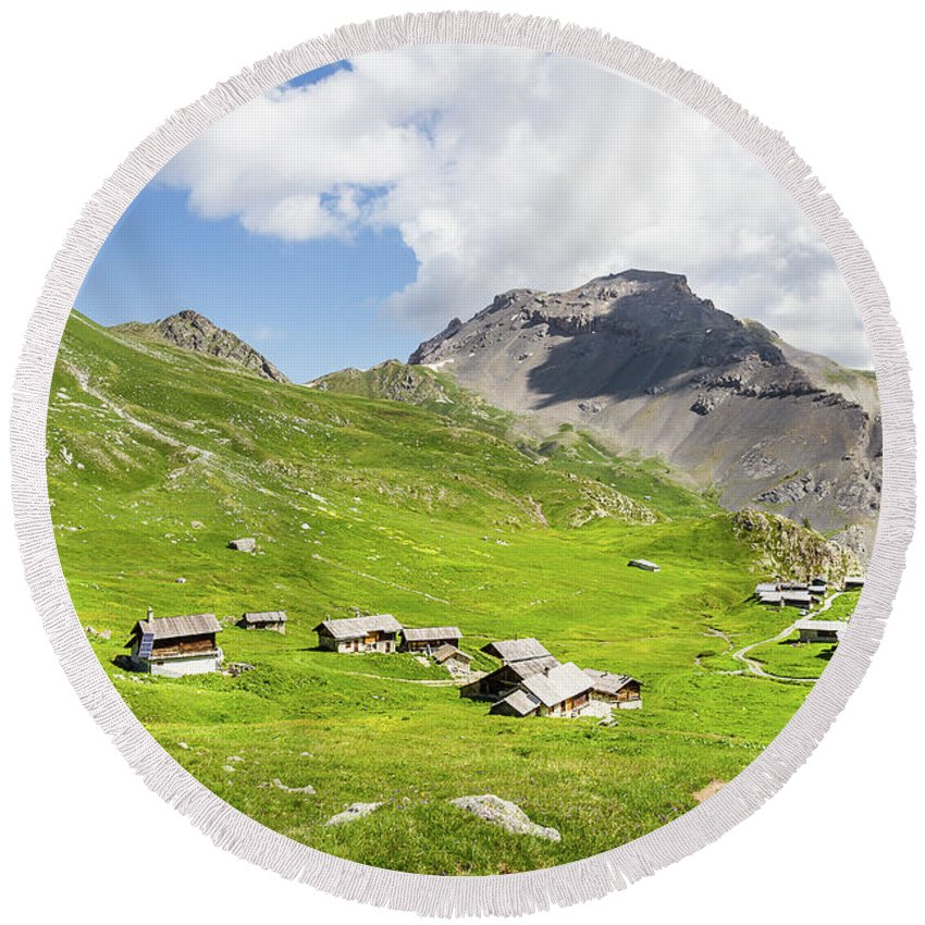 Mountain Landscape Round Beach Towel featuring the photograph Chalets De Clapeyto # II - French Alps by Paul MAURICE
