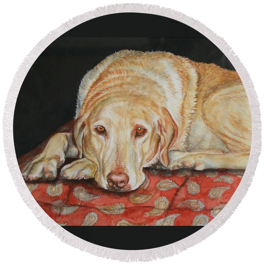 Yellow Lab Round Beach Towel featuring the painting Chamois by Ayal Armon