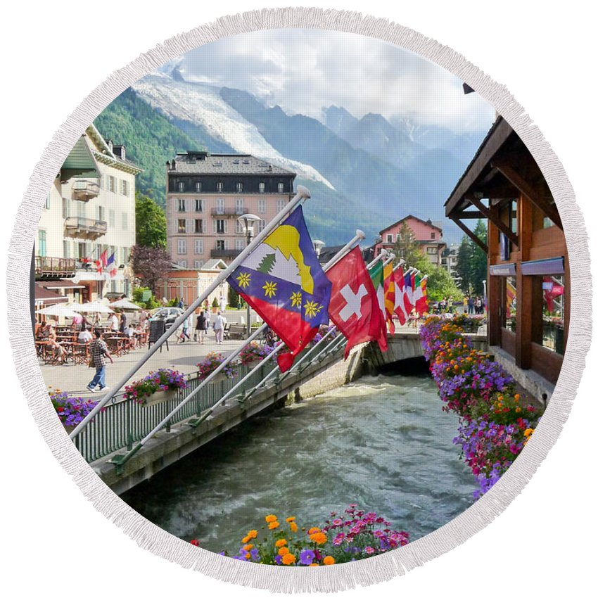 Chamonix Round Beach Towel featuring the photograph Chamonix, France by Sonal Dave