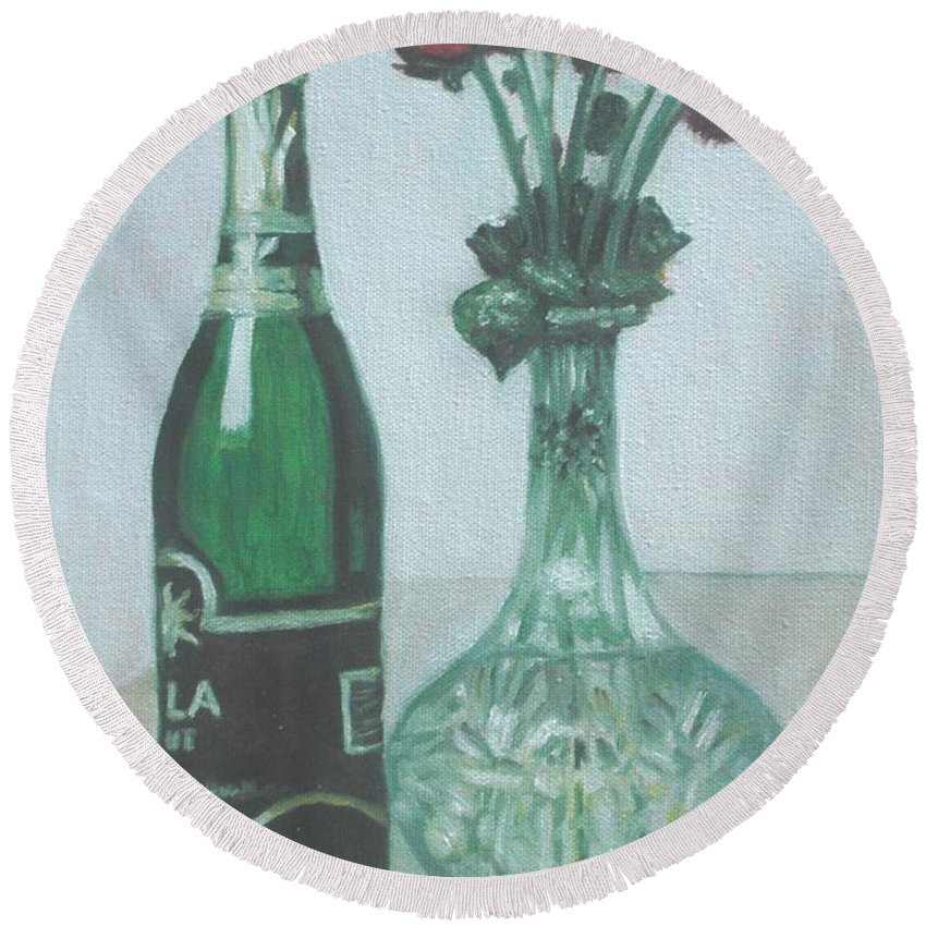 Champagne Round Beach Towel featuring the painting Champagne And Roses by Usha Shantharam