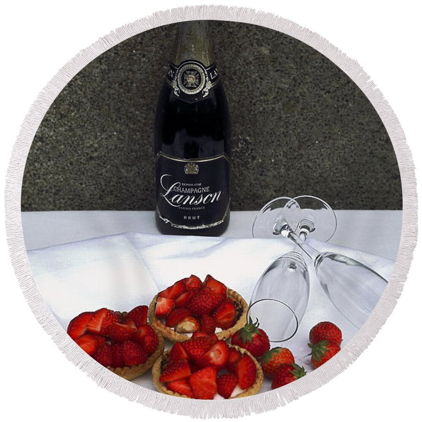 Brut Champagne Bottle Round Beach Towel featuring the photograph Champagne Bottle With Strawberry Tarts And 2 Glasses by Sally Weigand