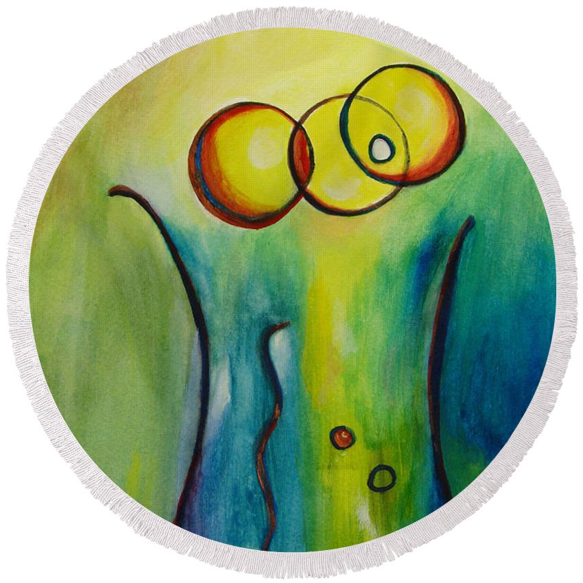 Abstract Round Beach Towel featuring the painting Champagne by Donna Blackhall