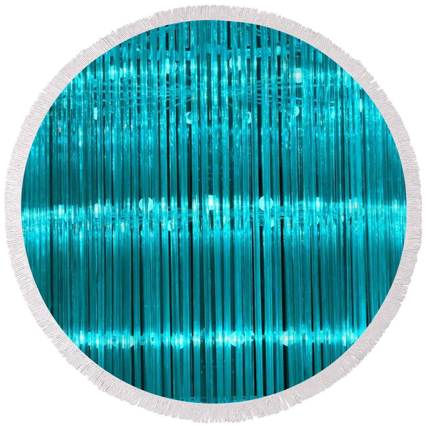Chandelier Round Beach Towel featuring the photograph Chandelier In Blue 3 by Timothy Smith