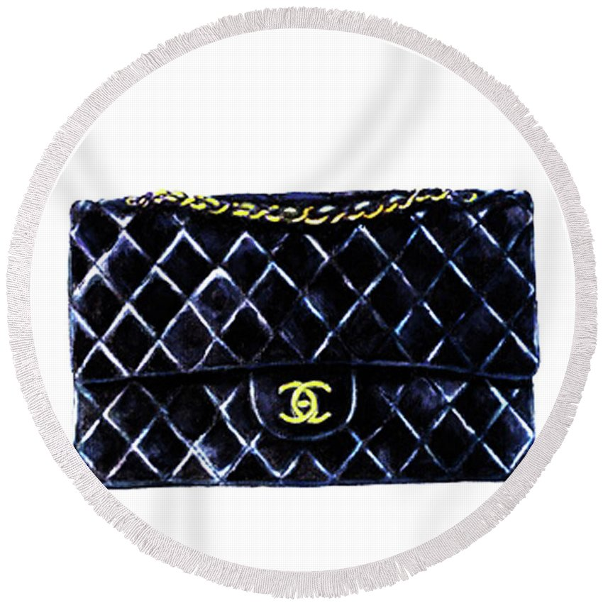 Chanel Art Print Round Beach Towel featuring the mixed media Chanel Bag Poster by Del Art