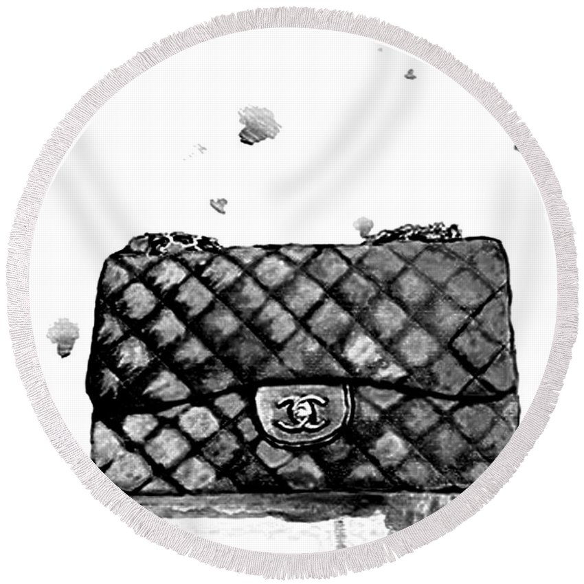 a8379658cef2c0 Chanel Bag Round Beach Towel featuring the painting Chanel Bag With  Dripping by Del Art