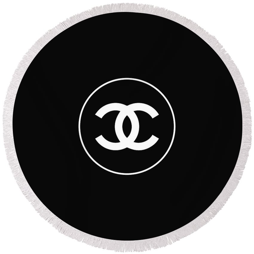 Chanel Logo Round Beach Towel featuring the digital art Chanel - Black And White 02 - Lifestyle And Fashion by TUSCAN Afternoon