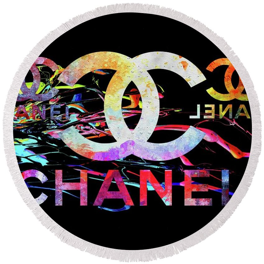 Chanel Black Round Beach Towel featuring the mixed media Chanel Black by Daniel Janda