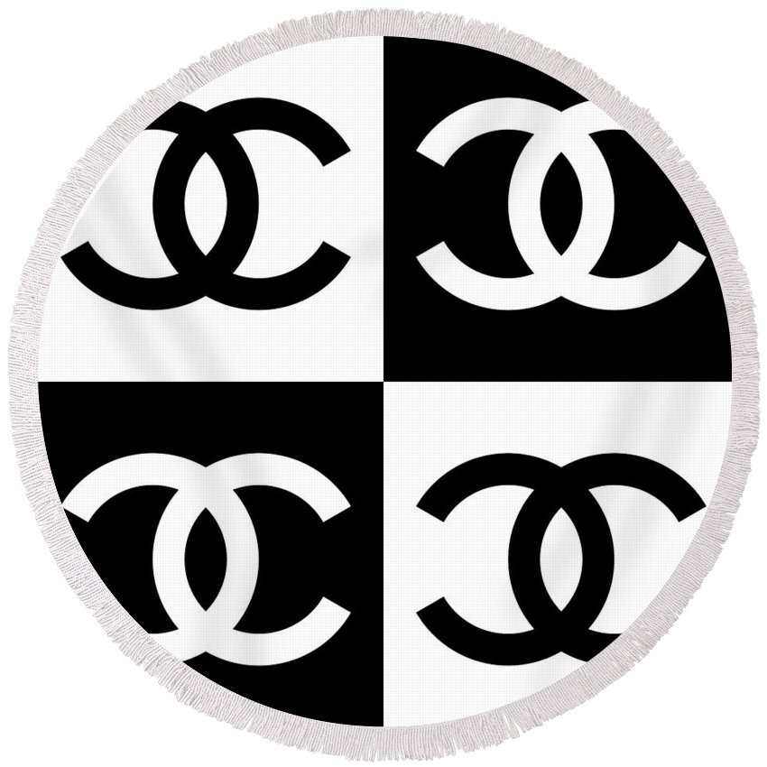 Chanel Round Beach Towel featuring the painting Chanel Design-5 by Three Dots