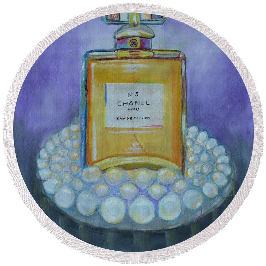 Chanel Round Beach Towel featuring the painting Chanel No 5 With Pearls Painting by To-Tam Gerwe