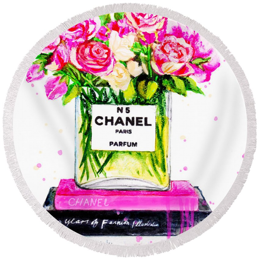 Chanel Home Decor Round Beach Towel featuring the painting Chanel Nr 5 Flowers With Perfume by Del Art