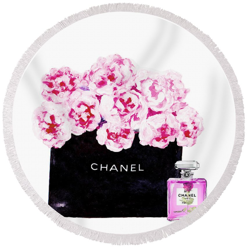 Chanel Art Print Round Beach Towel featuring the mixed media Chanel With Flowers by Del Art
