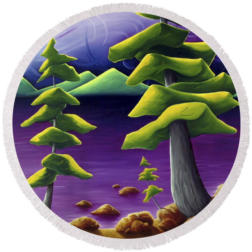 Landscape Round Beach Towel featuring the painting Change Of Pace by Richard Hoedl