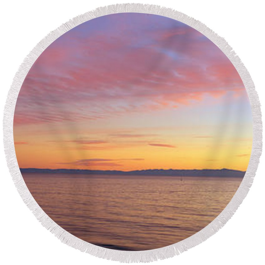 Photography Round Beach Towel featuring the photograph Channel Islands And Pacific At Sunset by Panoramic Images
