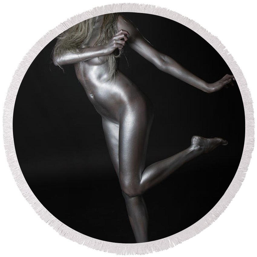 Body Painting Round Beach Towel featuring the photograph Chantal - Silver Lady - 2 by Robert McAlpine