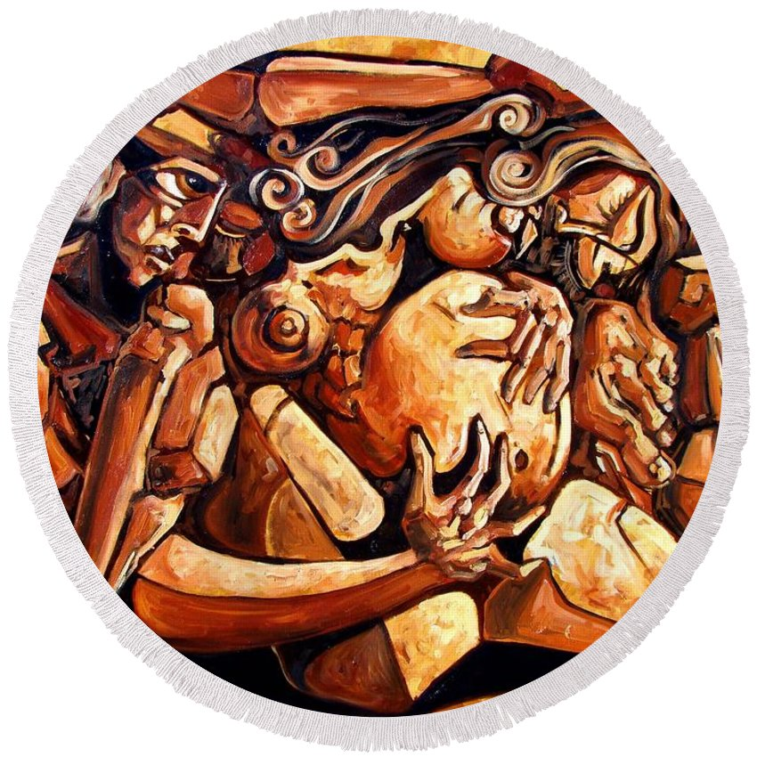 Surrealism Round Beach Towel featuring the painting Chaos After The News by Darwin Leon