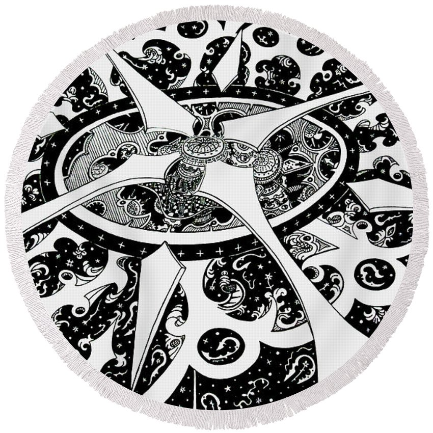 Pen And Ink Round Beach Towel featuring the drawing Chaos Theory by Red Gevhere