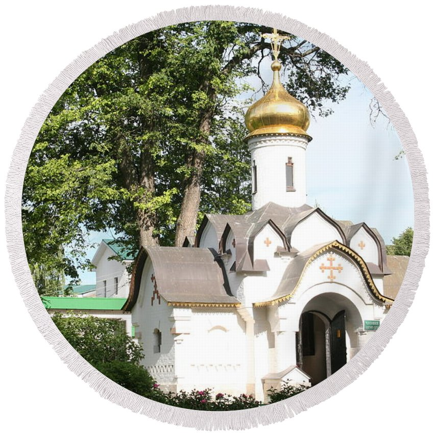 Dmitrov Round Beach Towel featuring the photograph Chapel At Saints Boris And Gleb by James Hanemaayer