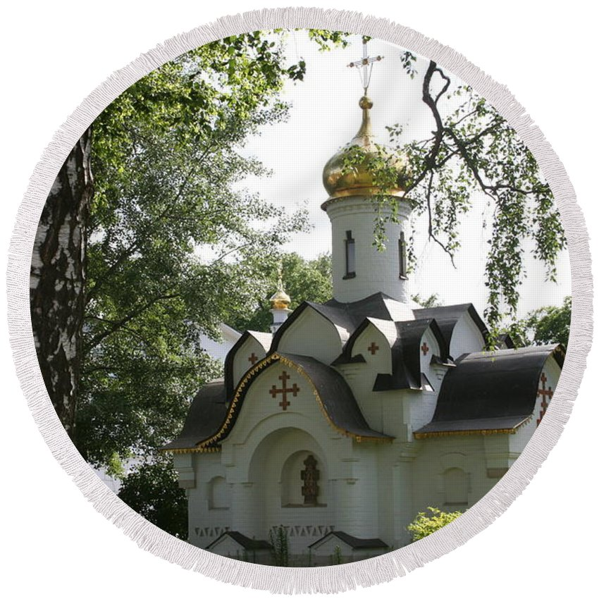 Dmitrov Round Beach Towel featuring the photograph Chapel In The Trees by James Hanemaayer