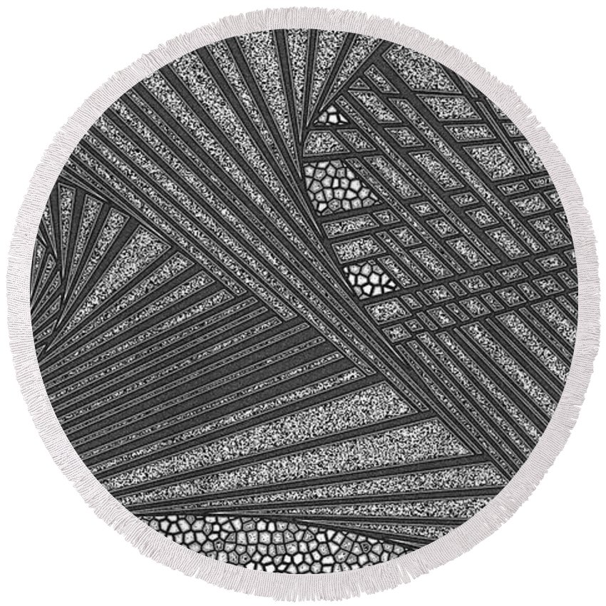 Dynamic Black And White Round Beach Towel featuring the painting Character by Douglas Christian Larsen
